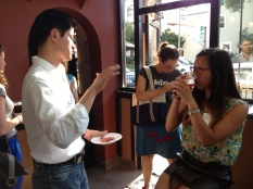 Researchers, PIOs and journalists mingle at the first-ever CapSciComm happy hour.