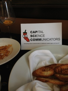 Hungry and thirsty science communicators made for rapidly emptying plates at the first CapSciComm social.