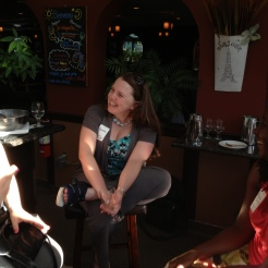 Sarah Swenty, Brenda Dawson and Malaika Singleton enjoy the first-ever CapSciComm meetup.