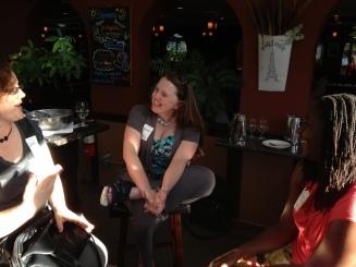 Sarah Swenty, Brenda Dawson and Malaika Singleton enjoy the first-ever CapSciComm meetup.