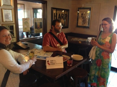 CapSciComm members Sharon Ruth, Jonathan Eisen and Robin Meadows helping to kick off the July 2013 networking social.