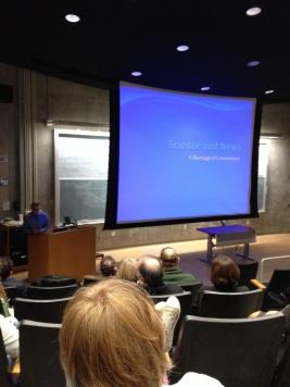 "NPR science reporter Joe Palca begins his talk at the ""Death Star"" at UC Davis."