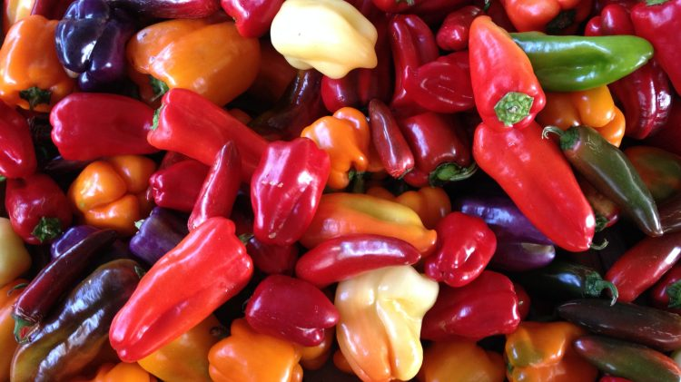 A photo of a smattering of sweet bell peppers.