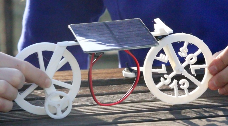 A prototype Sol Cycle, a solar-powered toy for science education designed by scientists Rachel Wood-Robinson and Elizabeth Case. Photo courtesy of cycleforscience.org