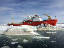 The RVIB Araon in the Ross Sea, off the coast of Antarctica. (Image Credit: Amy Wagner)