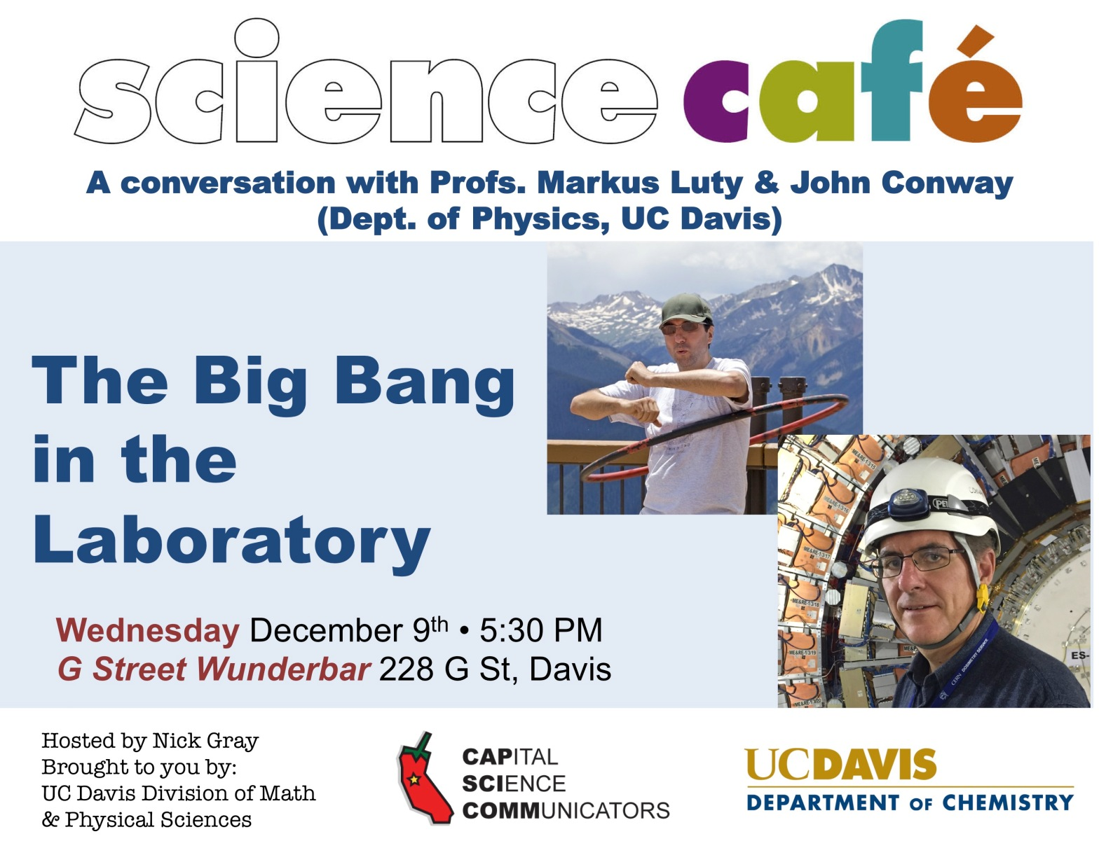 Poster for the December 9th Davis Science Cafe in 2015.