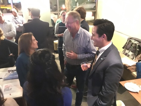 Powerhouse Science Center CEO Harry Laswell mingles with the CapSciComm crowd.