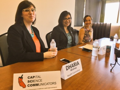 CapSciComm Capitol Chair Dharia McGrew PhD with invited panelists Paula Villescaz and An-Chi Tsou PhD at the February 2016 CapSciComm Workshop at UC Davis.