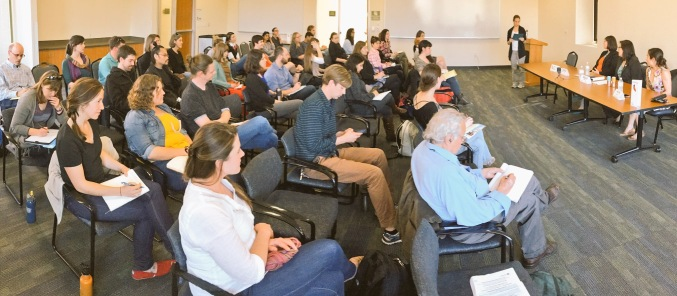 "Full house at our CapSciComm Professional Development Workshop ""Science and Scientists Informing Public Policy in California""."