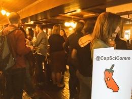 CapSciComm Workshop attendees gather for happy hour at de Vere's Pub in Davis afterwards.