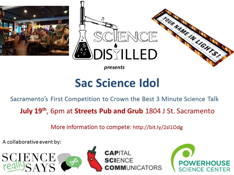 A poster for the Sac Science Idol competition.