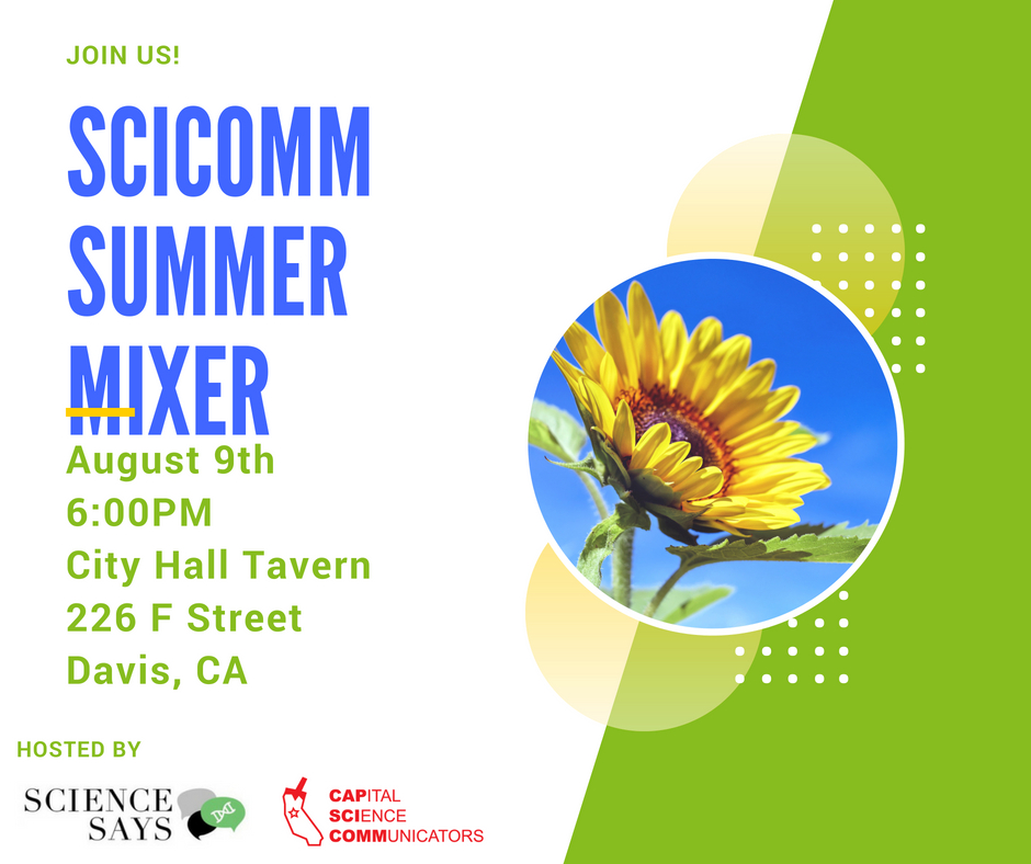 Poster for the summer mixer, with date and information. There is a photo of a sunflower.