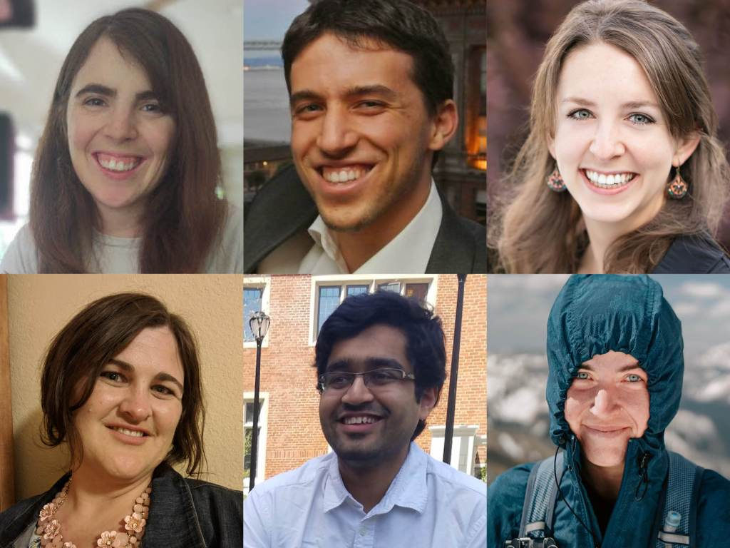 A mosaic of portrait photos of six 2020 - 20201 Cap Sci Comm Board Members: Allie Weill, Cory Warshaw, Victoria Strait, Laura Gore, Pratik Gandhi, Patty Bolan.
